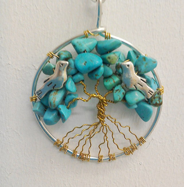 Shamanic Tree of Life Pendant - Turquoise