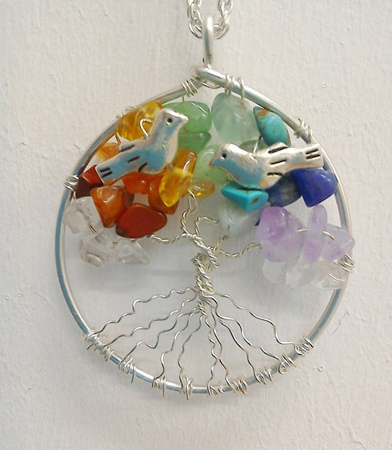 Shamanic Tree of Life Pendant - Chakra Gemstones