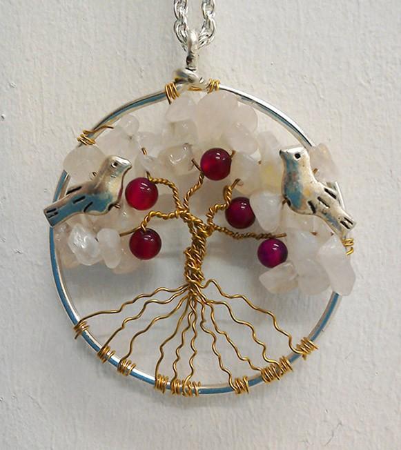 Shamanic Tree of Life Pendant - Rose quartz & Agate beads