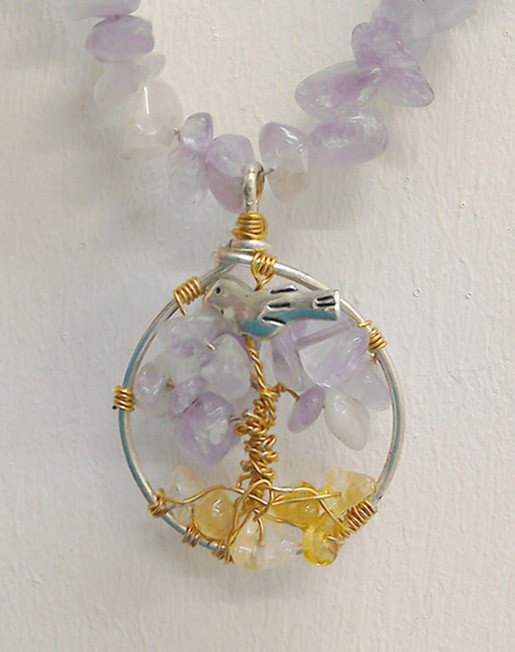 Shamanic Tree of Life Pendant - Amethyst & Citrine on crystal chain