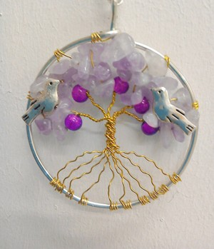 Shamanic Tree of Life Pendant - Amethyst  &  glass beads