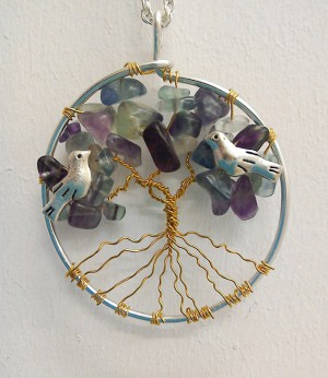 Shamanic Tree of Life Pendant - Rainbow Flourite