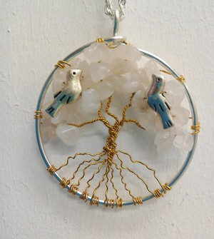 Shamanic Tree of Life Pendant - Rose quartz