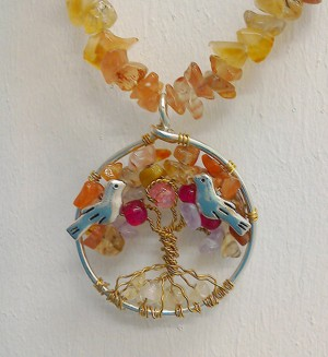 Shamanic Tree of Life Pendant - Carnelian, Amethyst & Agate on crystal chain